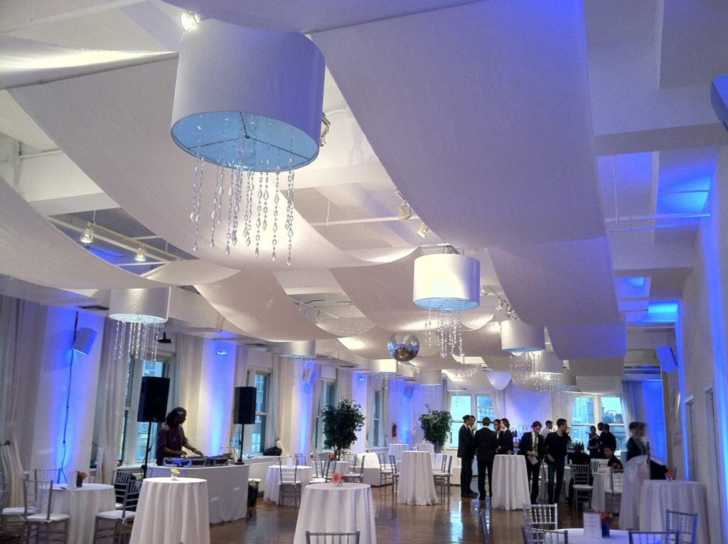 white linens and lighting - Midtown Productions