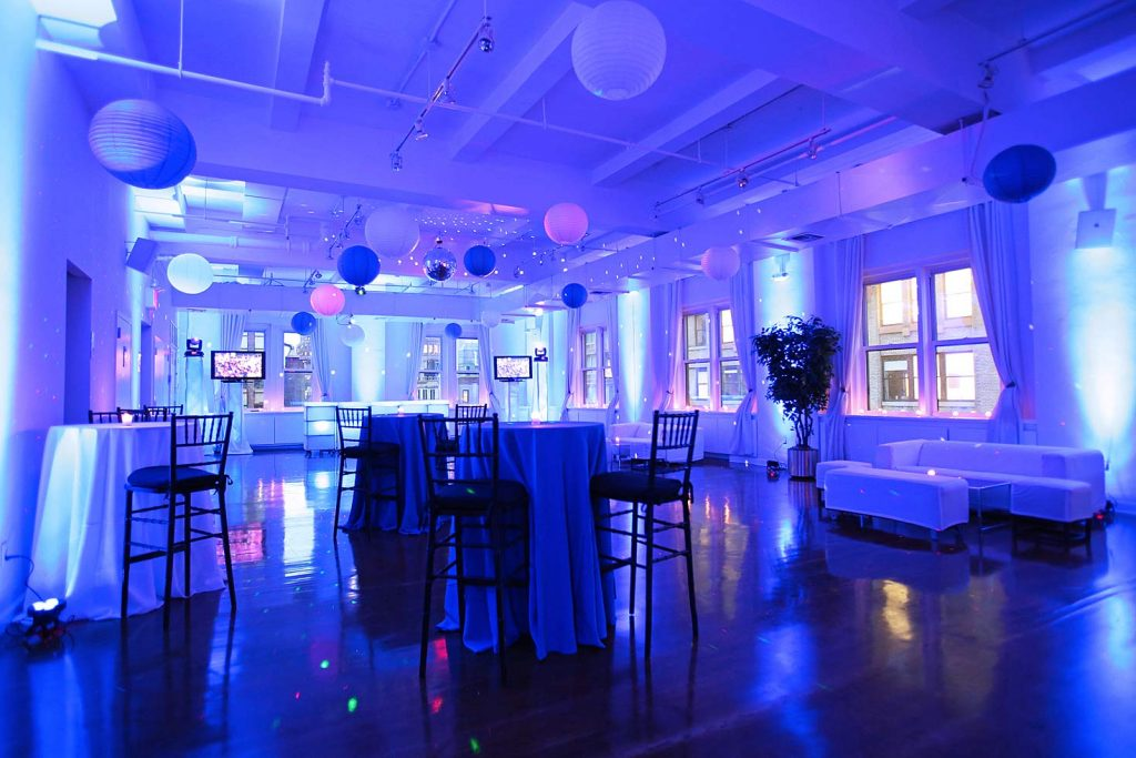 purple lighting and decorations - Midtown Productions