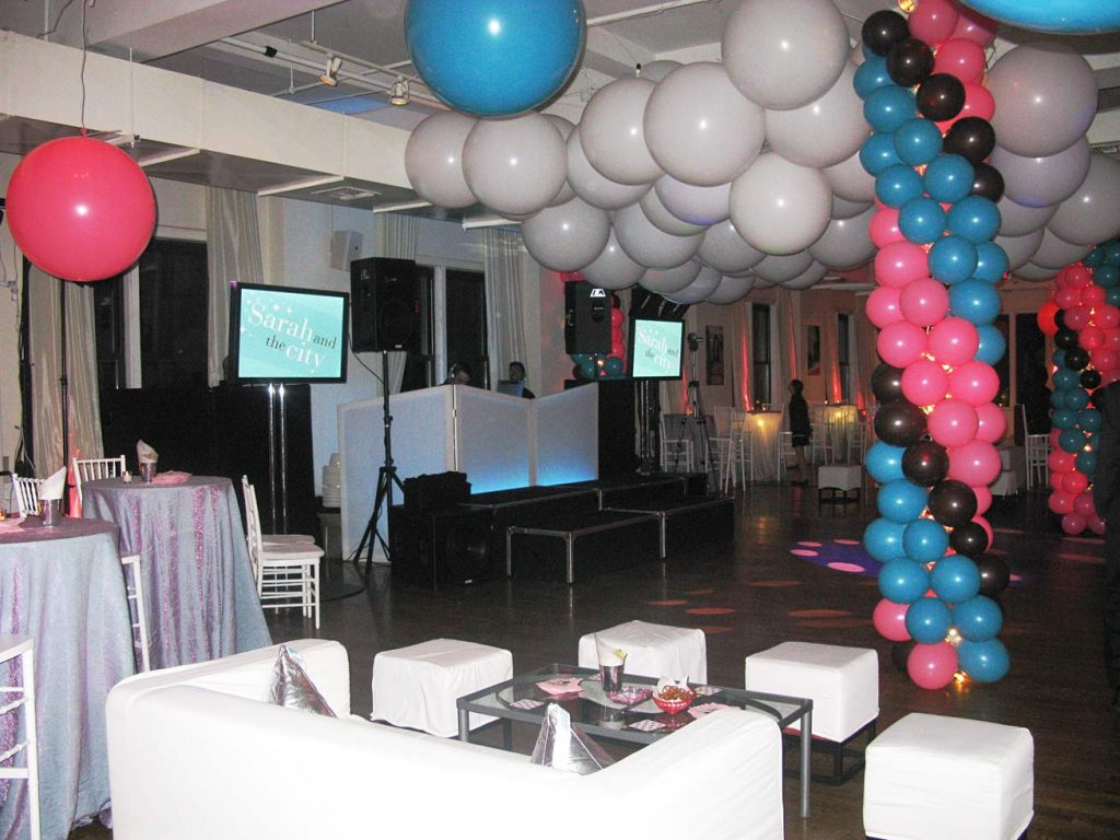 balloons and decorations for sweet 16 - Midtown Productions