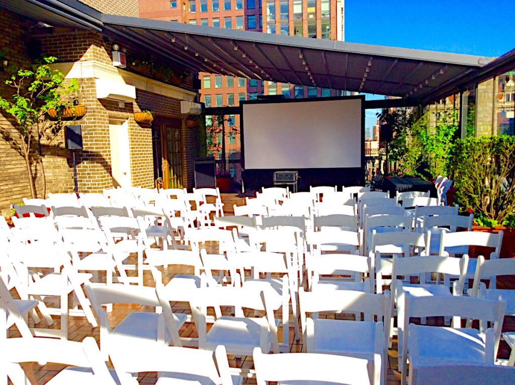 set up for screening area  - Midtown Terrace