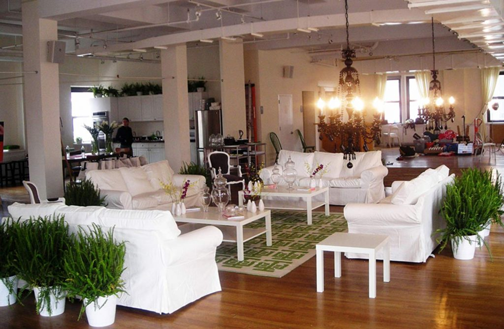 white couches and plants - NYC corporate event space