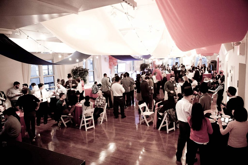 Overhead view of guests in loft - NYC corporate event space