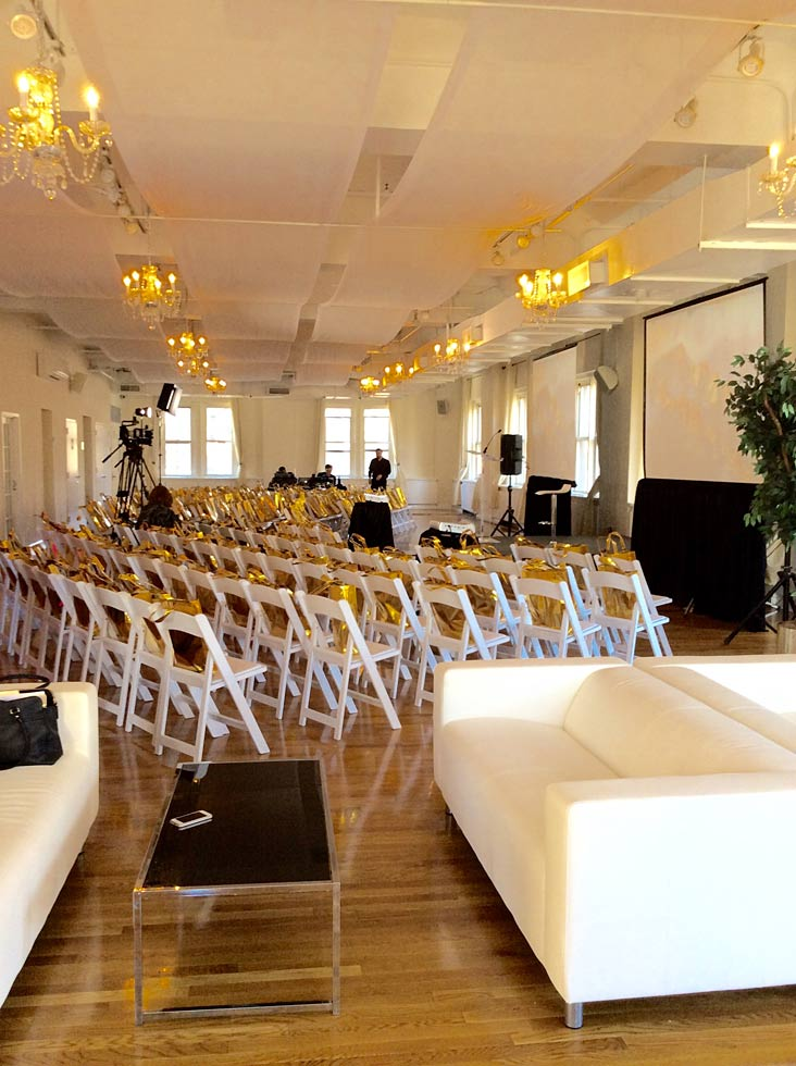 Gift bags on chairs - NYC corporate event space