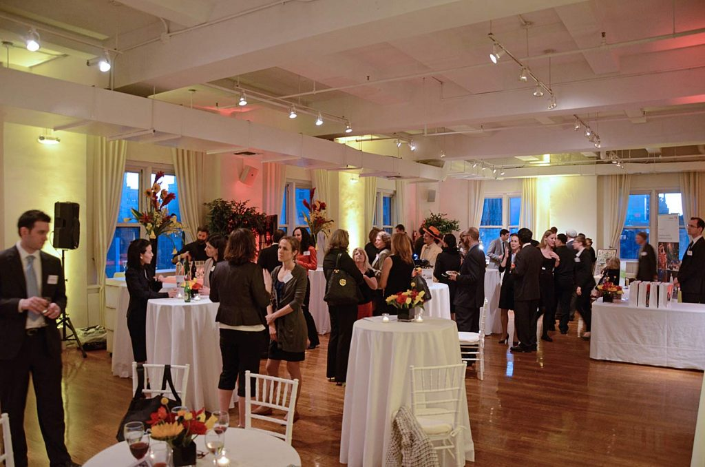 Guests at high top tables - NYC corporate event space