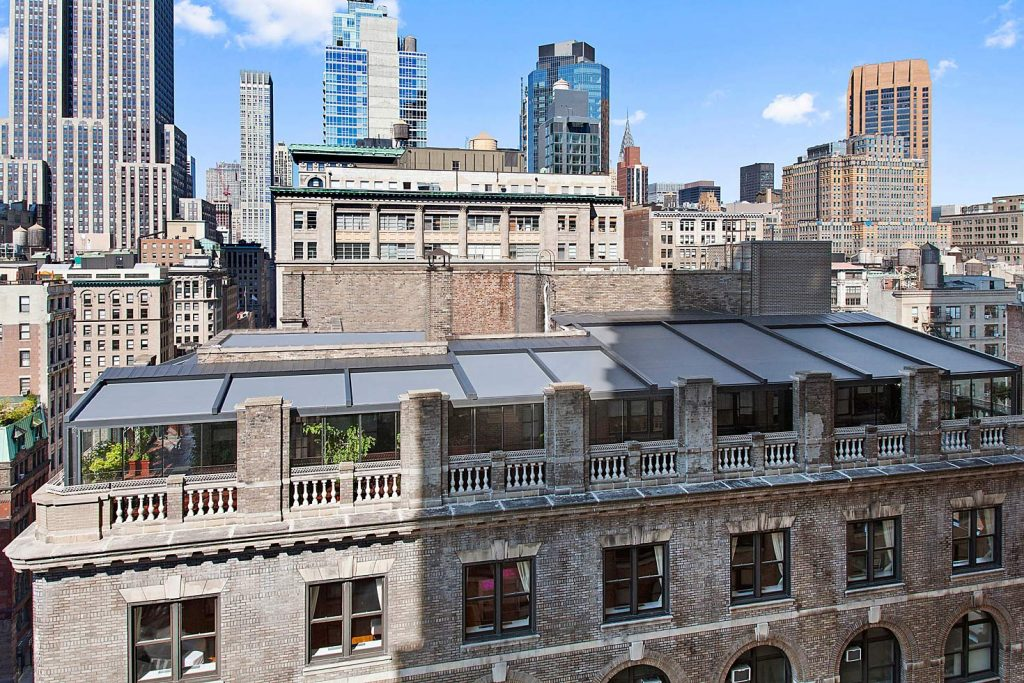 Overhead view of closed awning - NYC corporate event space