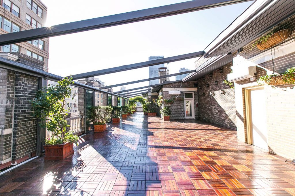 View of terrace with retracted awning - NYC corporate event space