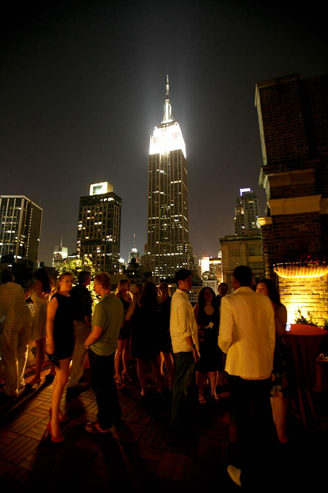 guests with view of skyline at night - NYC corporate event space