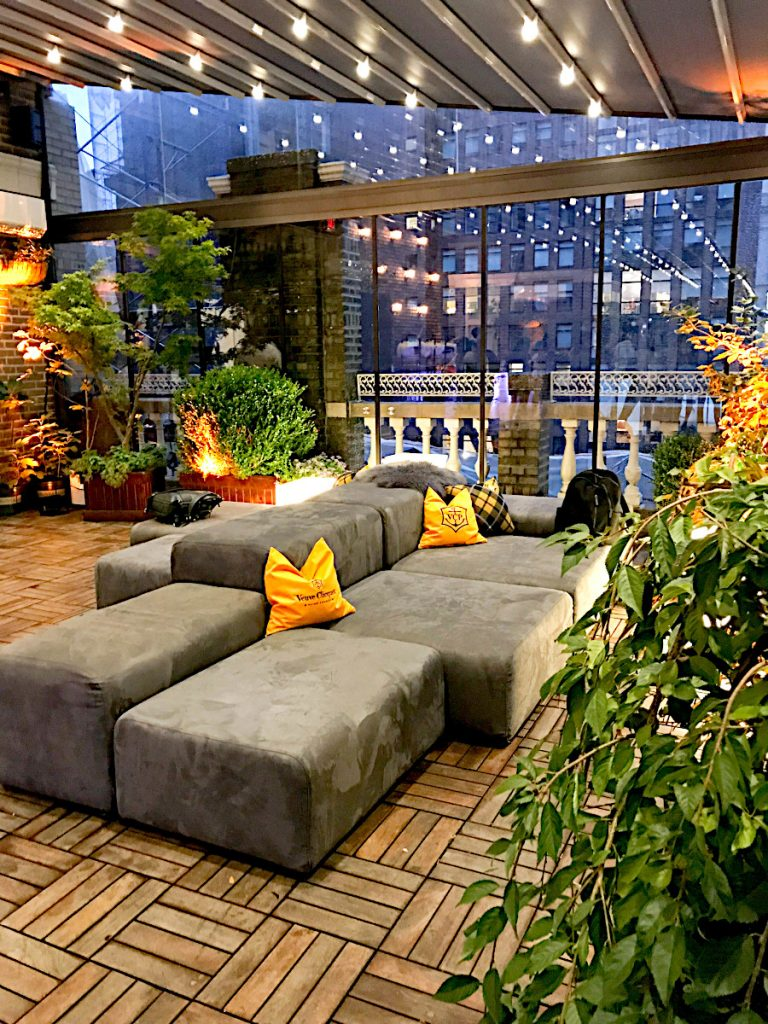 grey couches on terrace - NYC corporate event space