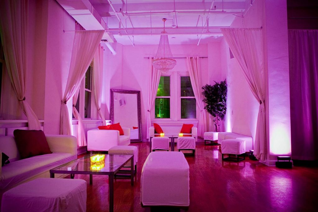 pink lounge set up - Midtown Loft