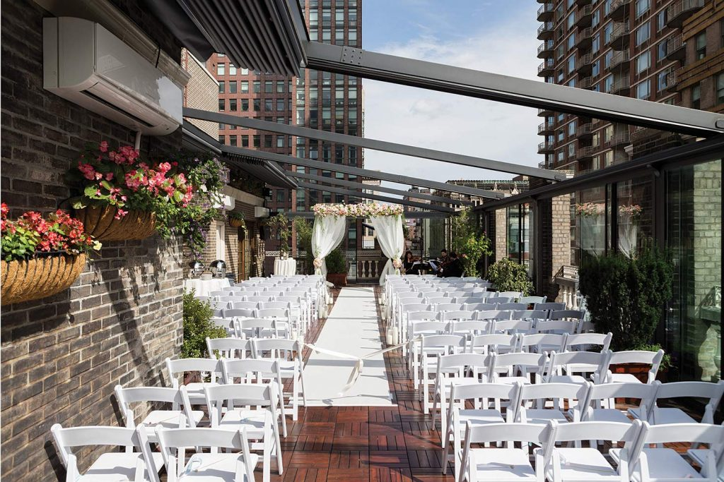 #12: Chairs arranged for outdoor wedding ceremony