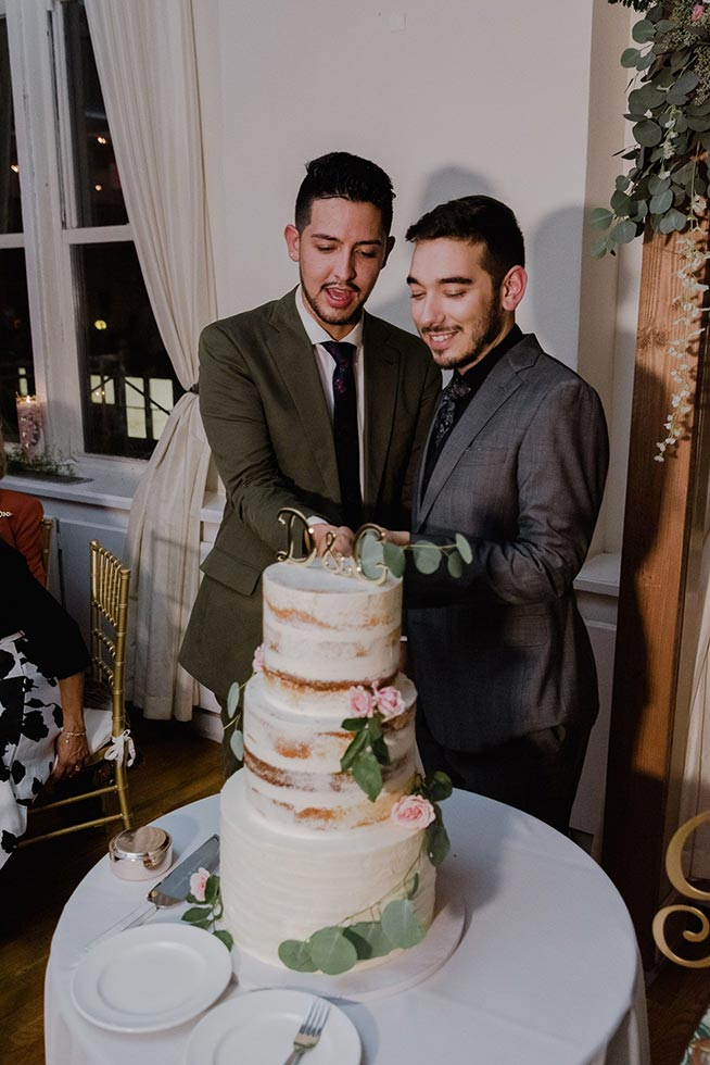 #72: Two grooms cutting the cake