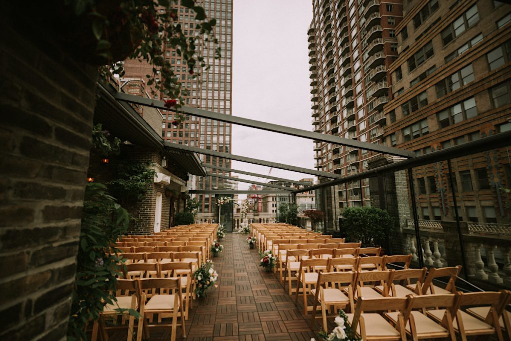 #13: Chairs arranged for outdoor wedding ceremony