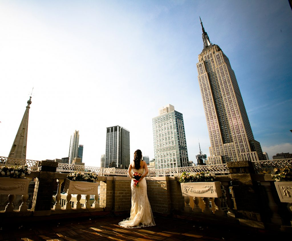 bride with view of skyline - Midtown Terrace