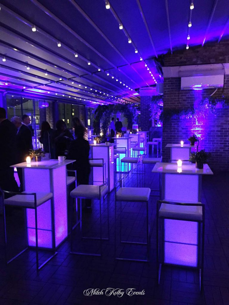 purple furniture on terrace - NYC corporate event space