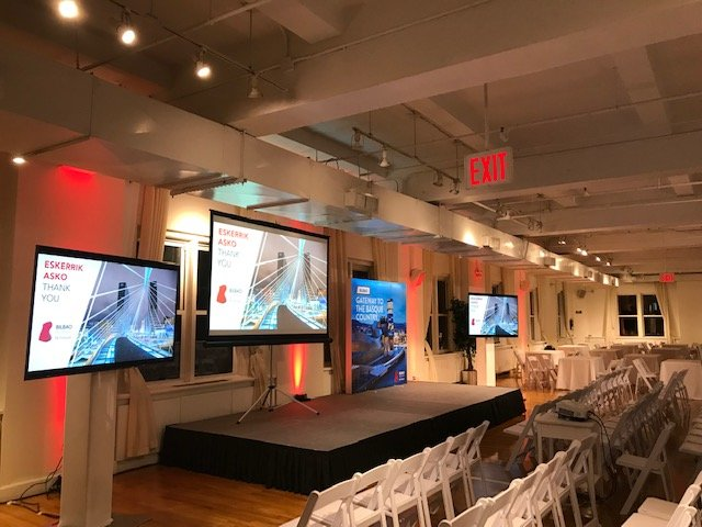 Stage with red lighting - NYC corporate event space