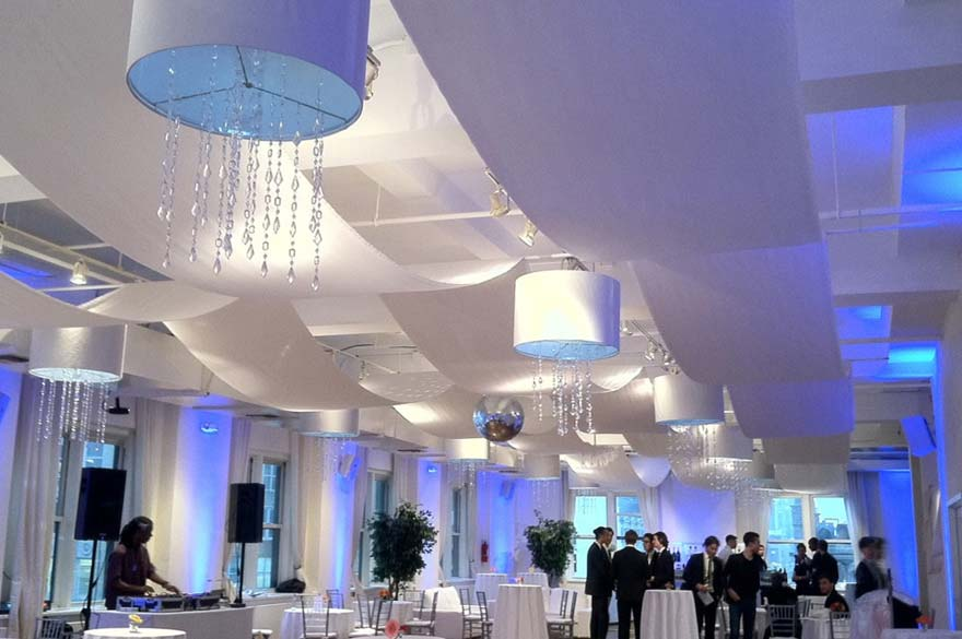 14 White Shade Chandeliers with Hanging Crystals: $950
